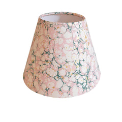 Munro and Kerr green pink and metallic gold splatter marbled paper for a tapered empire lampshade