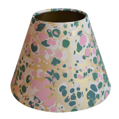 Munro and Kerr green pink and metallic gold marbled paper for a tapered empire lampshade
