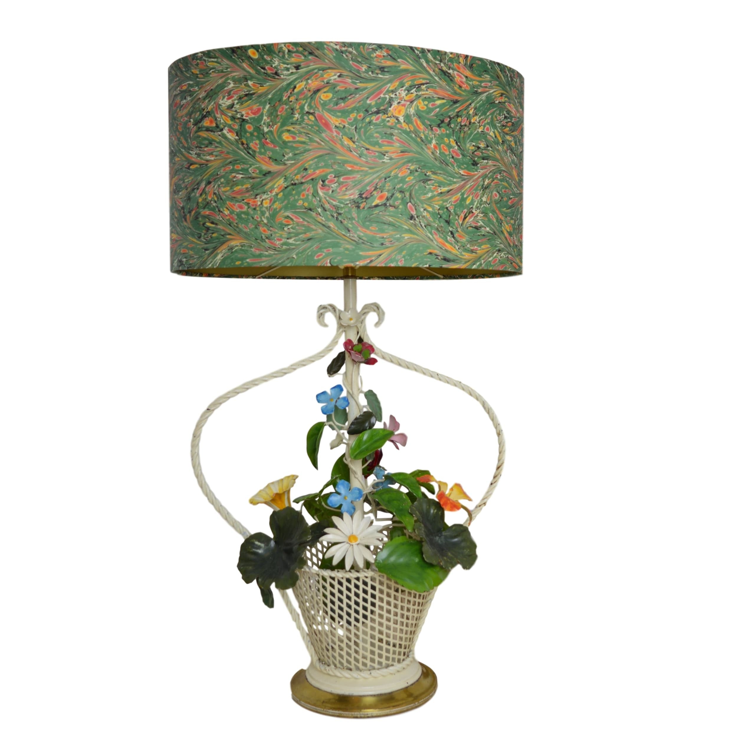 Munro and Kerr Vintage painted tole metal lamp base with marbled paper lampshade in the shape of a woven basket with flowers in. Roses, daisies, leaves, hybiscus.