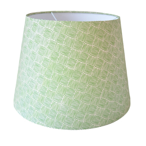 Munro and Kerr green hand printed herringbone paper for an empire lampshade