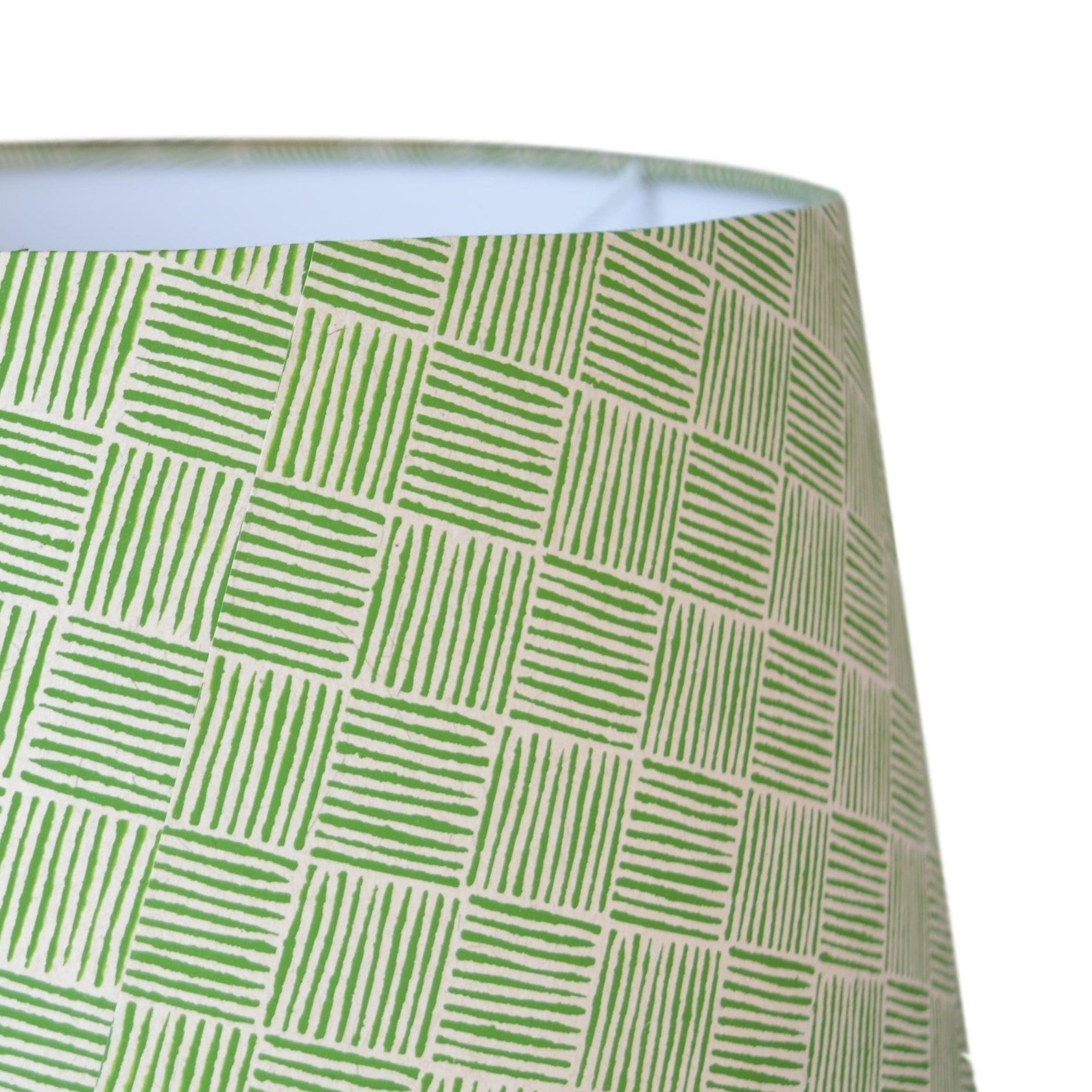 Munro and Kerr green hand printed herringbone paper for a tapered drum lampshade