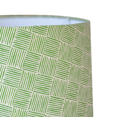Munro and Kerr green hand printed herringbone paper for a drum lampshade