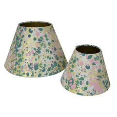 Munro and Kerr green pink and metallic gold marbled paper for tapered empire lampshade