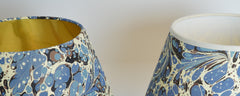 Munro and Kerr blue swirl marbled paper empire lampshade gold or white lining with a cream trim
