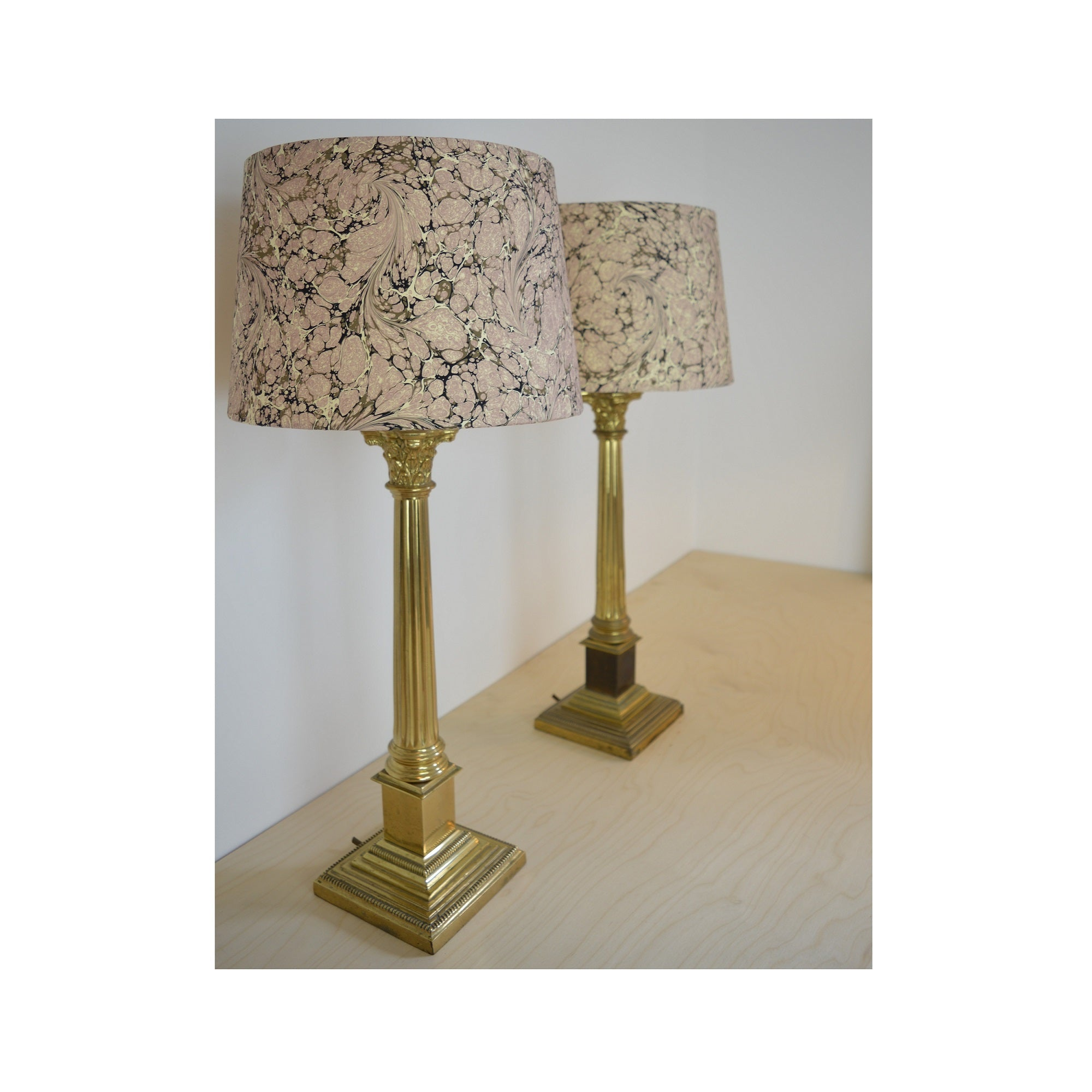 Munro and Kerr pretty pink and stone marbled paper tapered drum lampshade
