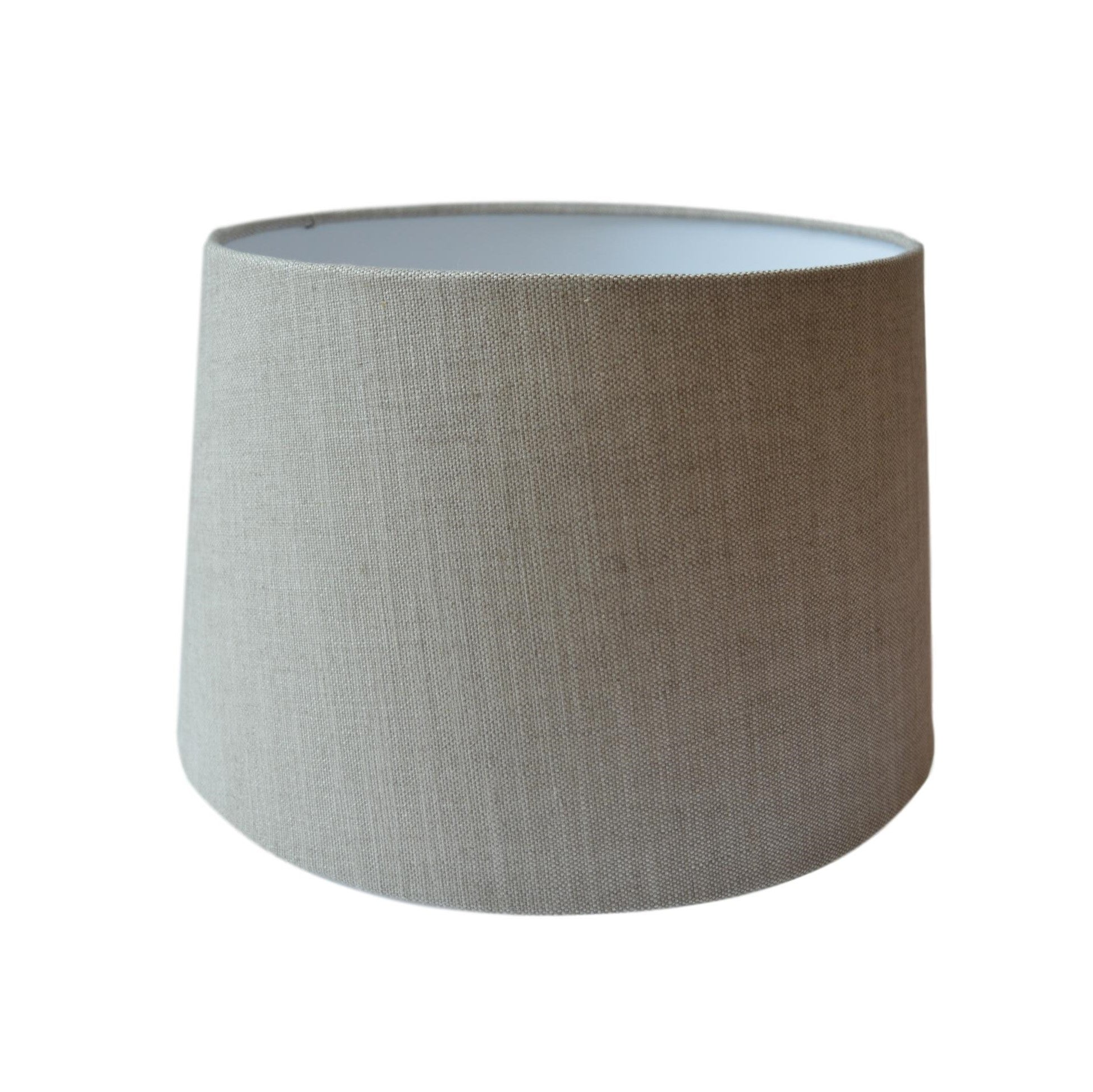 Munro and Kerr customers own material grey linen tapered drum lampshade