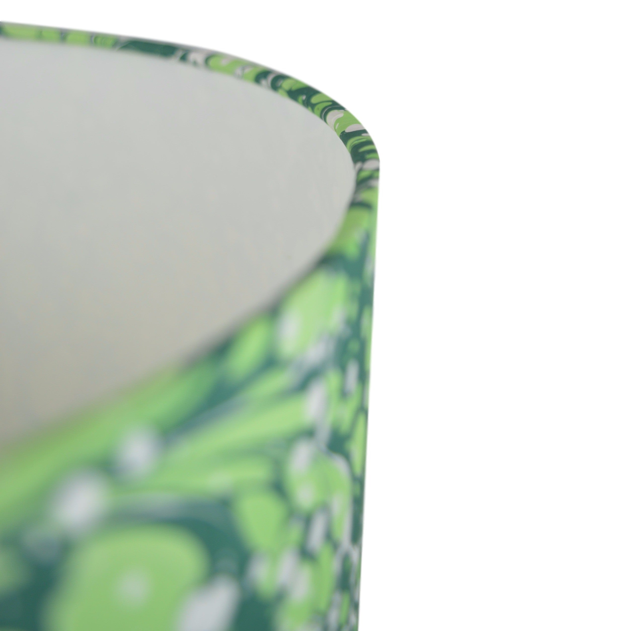 Munro and Kerr green swirl hand marbled paper lampshade