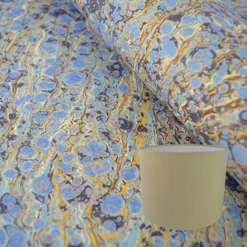 Munro and Kerr blue and gold hand marbled drum lampshade