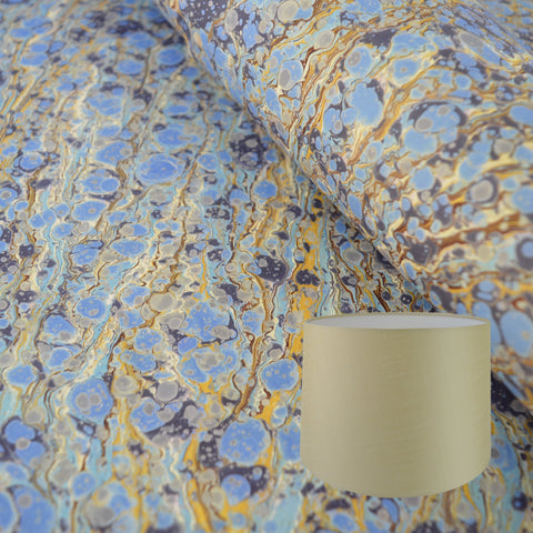 Munro and Kerr blue and gold hand marbled paper tapered drum lampshade