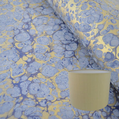 Munro and Kerr blue and gold hand marbled paper drum lampshade
