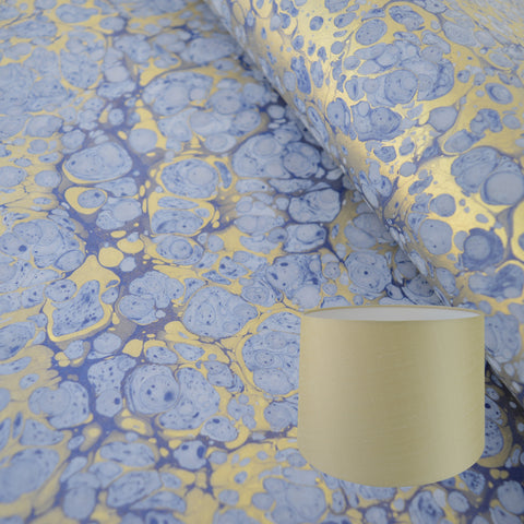 Munro and Kerr gold and blue hand marbled paper lampshade tapered drum