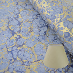 Munro and Kerr blue gold frost marbled paper lampshade