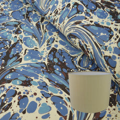 Munro and Kerr blue swirl marbled paper for a handmade drum lampshade
