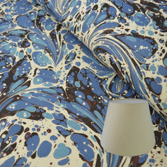 Munro and Kerr blue swirl marbled paper lampshade