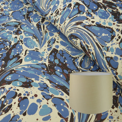 Munro and Kerr blue swirl marbled paper for tarpered drum lampshade