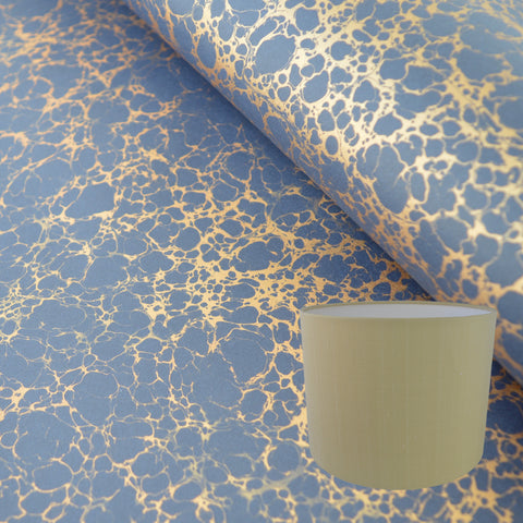 Munro and Kerr metallic gold veined marbled navy paper to for a paper drum lampshade