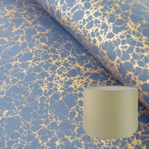 Munro and Kerr navy blue and gold veined marbled paper for tapered drum lampshade