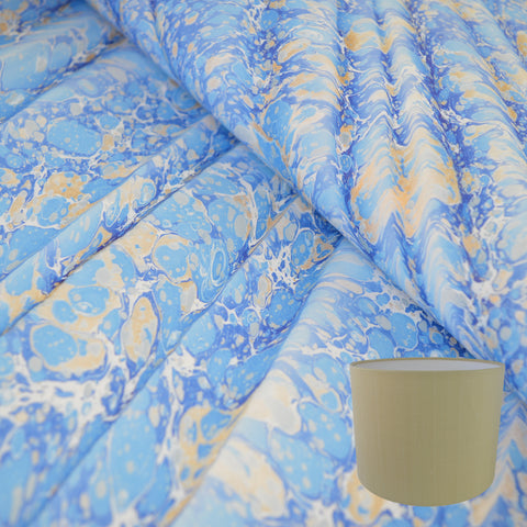 Munro and Kerr blue gold ripple marbled paper drum lampshade