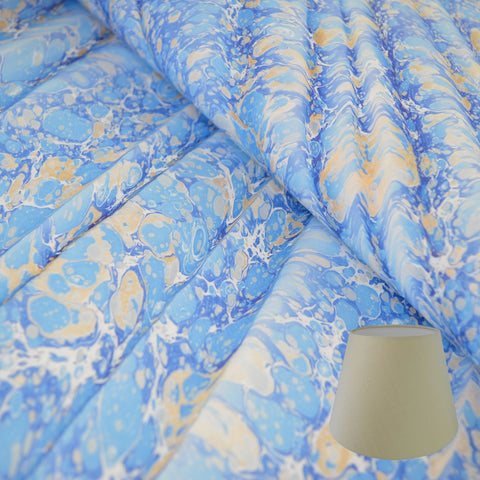 Munro and Kerr blue gold ripple marbled paper empire lampshade
