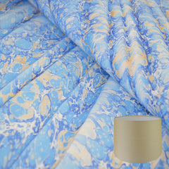 Munro and Kerr blue gold ripple marbled paper tapered drum lampshade
