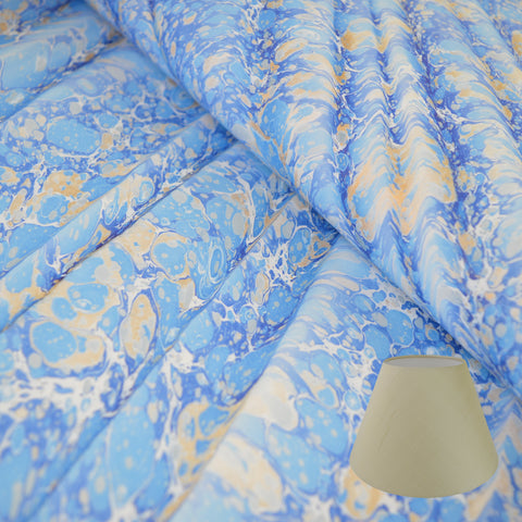 Munro and Kerr blue gold ripple marbled paper tapered empire lampshade
