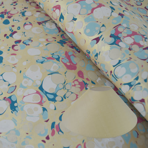 Munro and Kerr blue pink and metallic gold marbled paper for a coolie lampshade