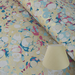 Munro and Kerr blue pink and metallic gold marbled paper for a tapered empire lampshade