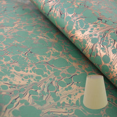 Munro and Kerr green and gold marbled paper candle clip lampshade
