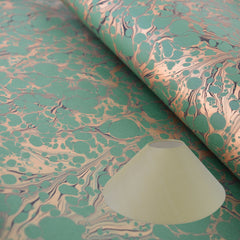 Munro and Kerr green and gold marbled paper coolie lampshade