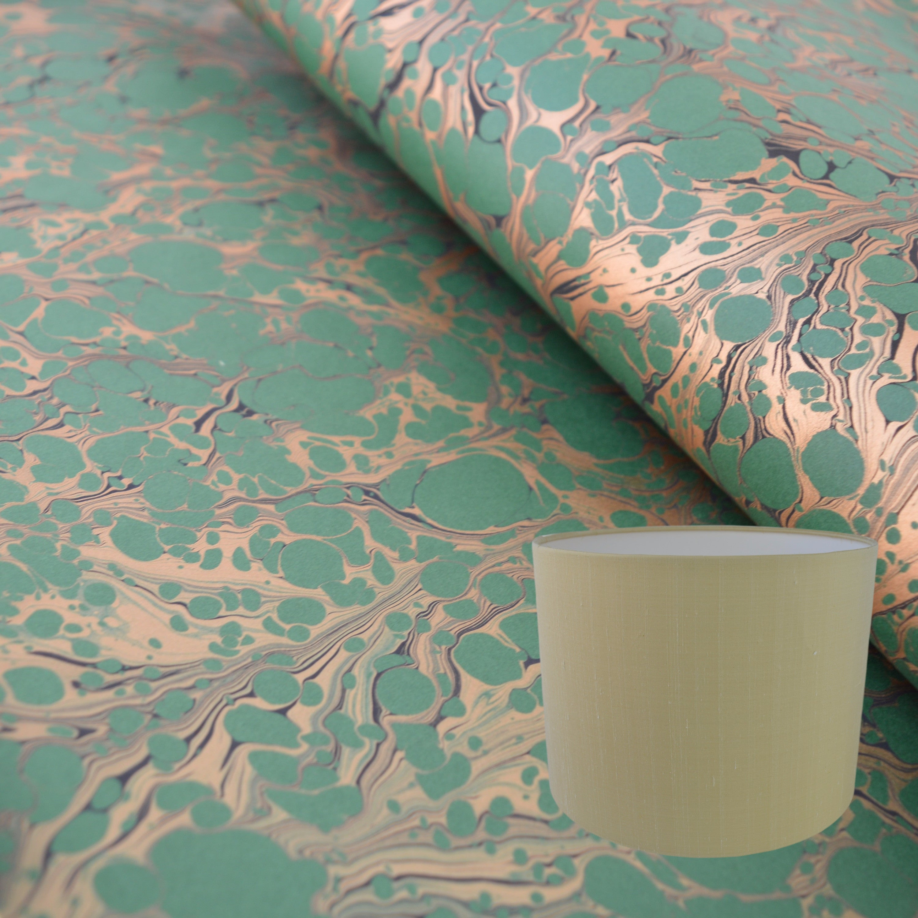Munro and Kerr green and gold marbled paper for a drum lampshade