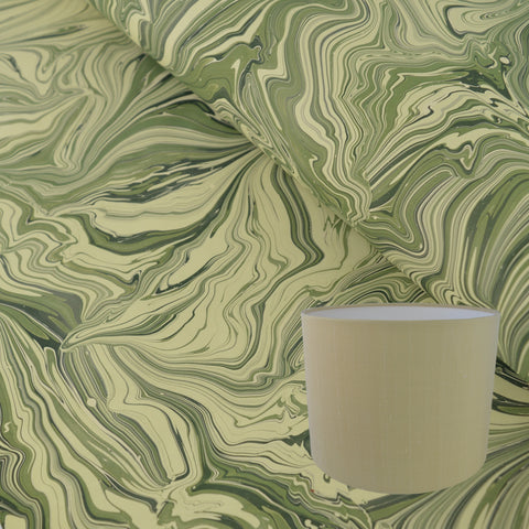Munro and Kerr green malachite marbled drum lampshade paper