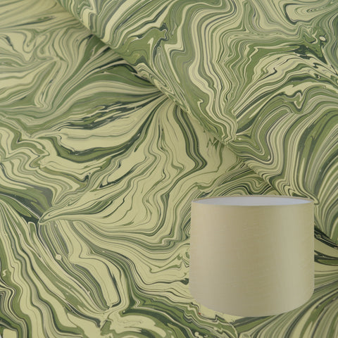 Munro and Kerr green malachite marbled lampshade paper tapered drum