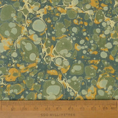 Munro and Kerr green and gold marbled paper lampshade