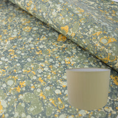 Munro and Kerr green and gold marbled paper handmade drum lampshade