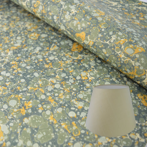 Munro and Kerr green and gold marbled paper empire lampshade