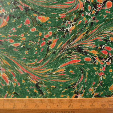 Munro and Kerr green orange yellow pink marbled paper lampshade