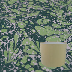 Munro and Kerr green hand marbled paper drum lampshade