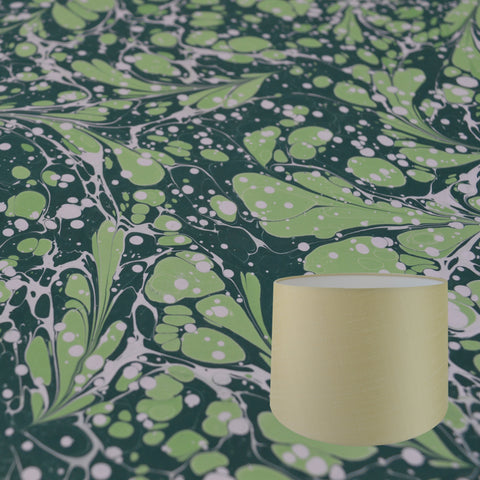 Munro and Kerr green swirl hand marbled paper tapered drum lampshade