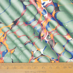 Munro and Kerr green ripple marbled paper for a lampshade