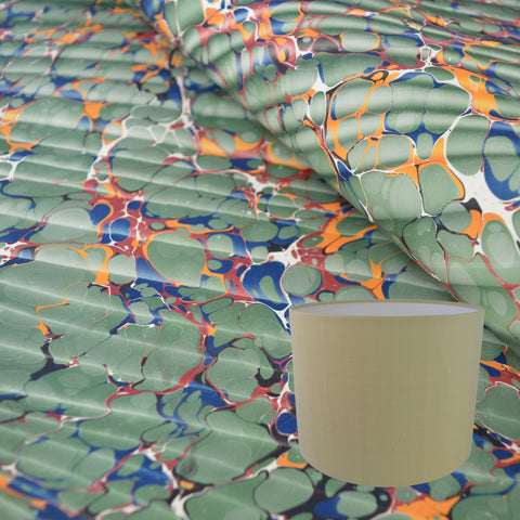 Munro and Kerr green ripple effect marbled paper for a drum lampshade