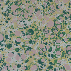 Munro and Kerr green pink and metallic gold marbled paper for a lampshade