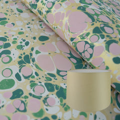 Munro and Kerr green pink and metallic gold marbled paper for a tapered drum lampshade