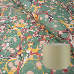 Munro and Kerr traditional antique spot green red yellow paper marbled lampshade tapered drum