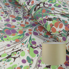 Munro and Kerr modern marbled lampshade drum green cream orange