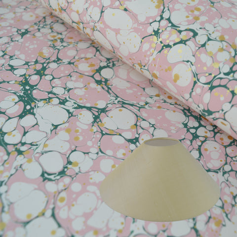 Munro and Kerr green pink and metallic gold splatter marbled paper for a coolie lampshade