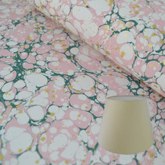 Munro and Kerr green pink and metallic gold splatter marbled paper for an empire lampshade
