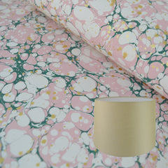Munro and Kerr green pink and metallic gold splatter marbled paper for a tapered drum lampshade