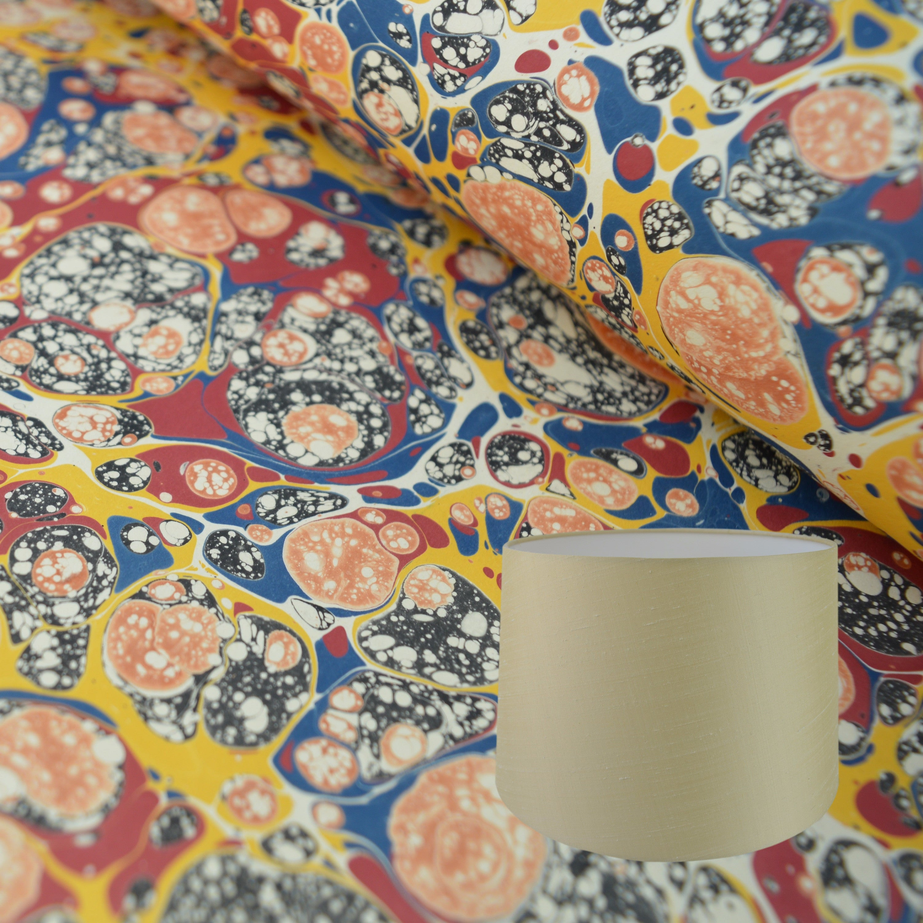 Munro and Kerr multicoloured marbled paper to be used to make a tapered drum lampshade