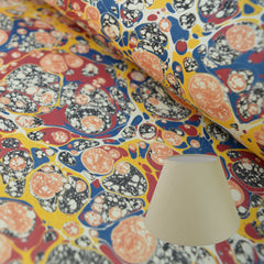 Munro and Kerr multicoloured marbled paper to be used to make lampshades