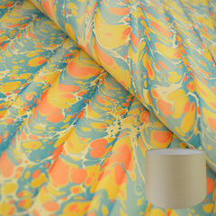 Yellow #03 Marbled Paper Tapered Drum Lampshade